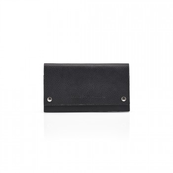 Pittards Large Modern Travel Wallet Attacama Black Leather