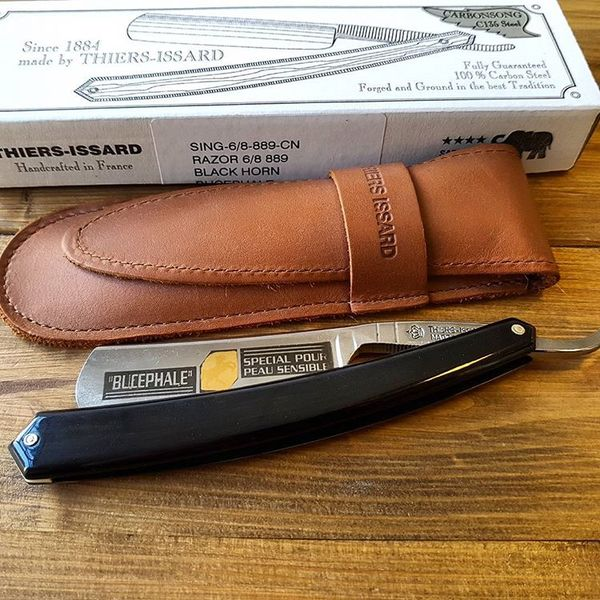 Thiers- Issard 6/8 Black Horn Bucephale Straight Razor