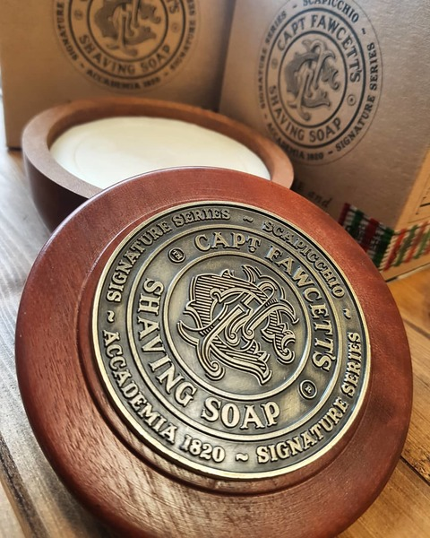 Captain Facwcett's Scapicchio Shaving Soap in Wooden Bowl