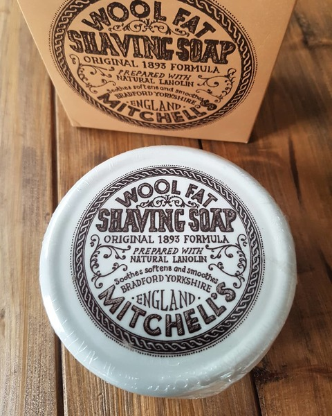 Mitchell's Wool Fat Shaving Soap In Ceramic Bowl