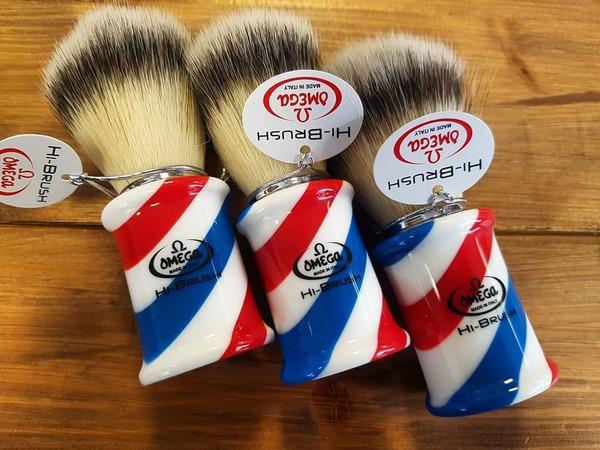 Omega Barberpole Hi-Brush Synthetic Shaving Brush