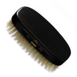 GB Kent Gent's Hair Brush MN1B  Rectangular, ebony wood, pure white bristle.