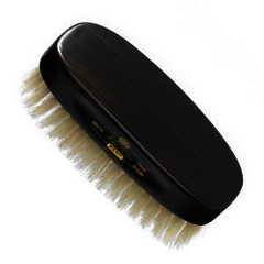 GB Kent Gent's Hair Brush MN1B  Rectangular, ebony wood, pure white bristle.