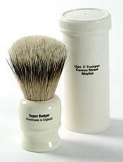 Geo F Trumper Super Badger Shaving Brush with Simulated Ivory Travel Case