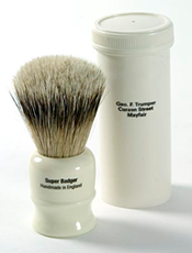 Geo F Trumper Super Badger Shaving Brush with Simulated Ivory Travel Case