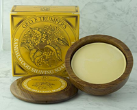 Geo F Trumper sandalwood shaving soap in wooden bowl 80g
